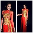 aodai vietnam tunictraditional lace  woman dress