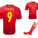 Spain #7 Torres World Cup Home jersey w shorts & socks kid youth for age 8-10