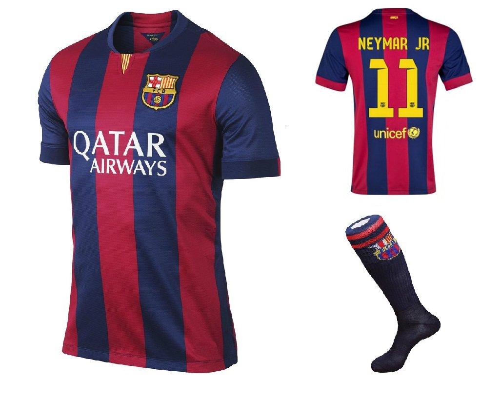Barcelona #11 Neymar Jr UEFA Home jersey w shorts & socks kid youth for age 8-10