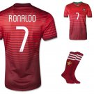Portugal #7 Ronaldo FIFA Home jersey w shorts & socks kid youth for age 8-10