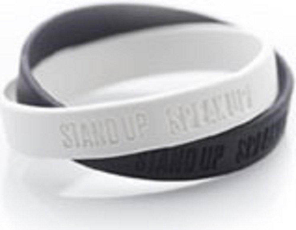 Speak Up Speak Up - Interlocked black & white color wristbands
