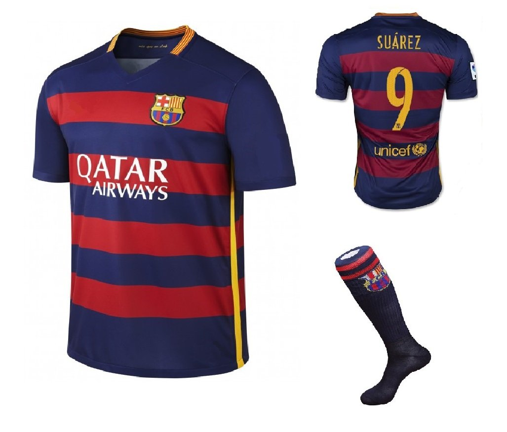 Barcelona #9 Suarez UEFA Home jersey w shorts & socks kid youth for age 6-8