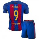 Barcelona #9 Suarez UEFA Home jersey kid youth for age 8-10