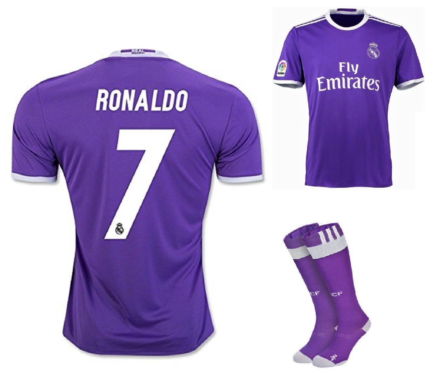 Real Madrid #7 Ronaldo 2nd Away jersey with shorts & socks kid youth for age 8-10