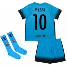 Barcelona #11 Neymar Away Blue jersey w shorts & socks kid youth for age 6-8