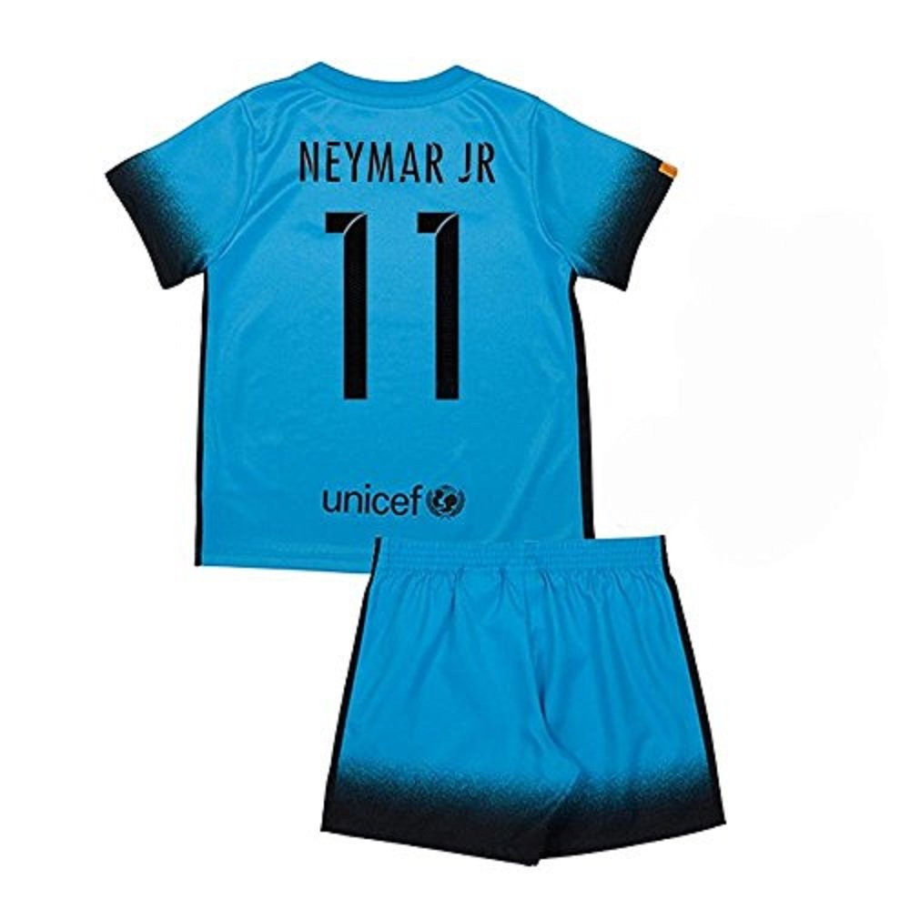 Barcelona #11 Neymar Away jersey w shorts kid youth for age 8-10
