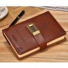 Vintage Embossed Leather Writing Journal with Combination Lock Ruled Diary
