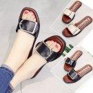 Women's Slim Leather Sandals Comfortable Buckle Flip Flops Leather Sole FASHION