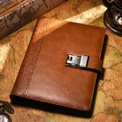 New Design Combination Lock Journal to Writing in Embossed Number Leather Diary