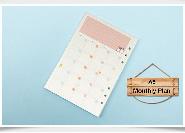 6 Hole Punched Universal Colored Refill Monthly Plan Insert Paper for A5 Planner