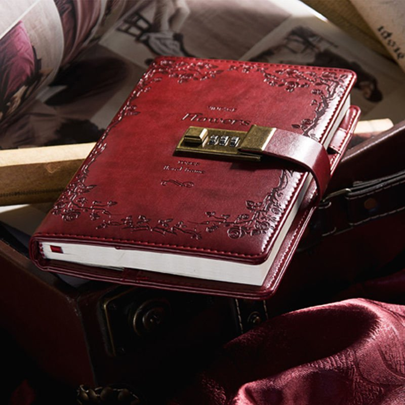 B6 Classic Red Rose Leather Writing in Diary with Combination Lock Lined Page