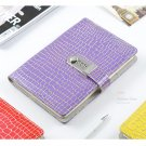 Purple Leather Writing Journal with Password Lock Ruled Diary 5.7 x 8.3 inch