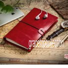 Vintage Red Leather Cover Refillable Sketchbook Travelers Journal Diary Notebook