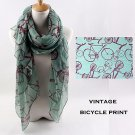 Fashion Long Soft Bicycle Printed Scarf for Women, Green Color Vintage Design