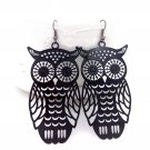 Cute Black Owl Earrings - Copper Metal Owl Design Long Charm Pendant with Hook