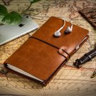 Brown Notebook for Travel Leather Writing Journal Refillable with Card Holders