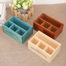 4 Holders Wooden Storage Box - Makeup Cosmetic Organizer Desk Mesh Holder