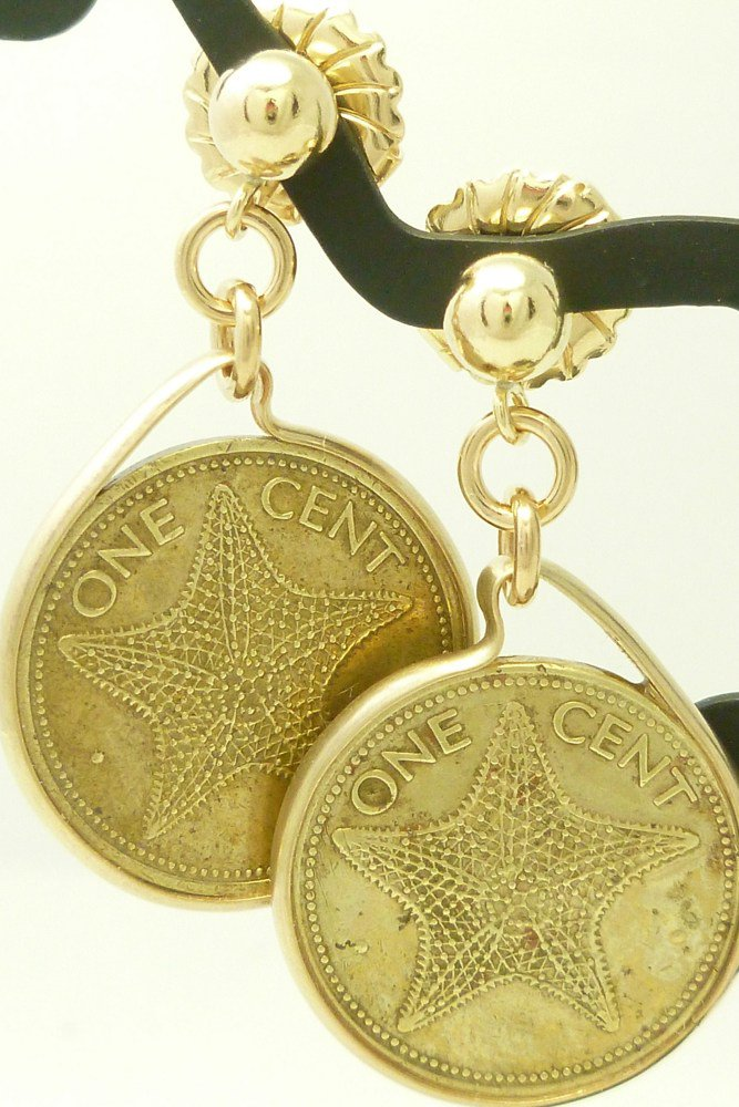 Bahama Starfish 1 Cent Coin Earrings 14 kt Gold Filled  Coin jewelry