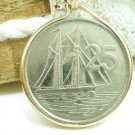 Cayman Island 25 CENT Sailing Ship 1999 Coin Pendant 14kt Gold Filled Coin jewelry
