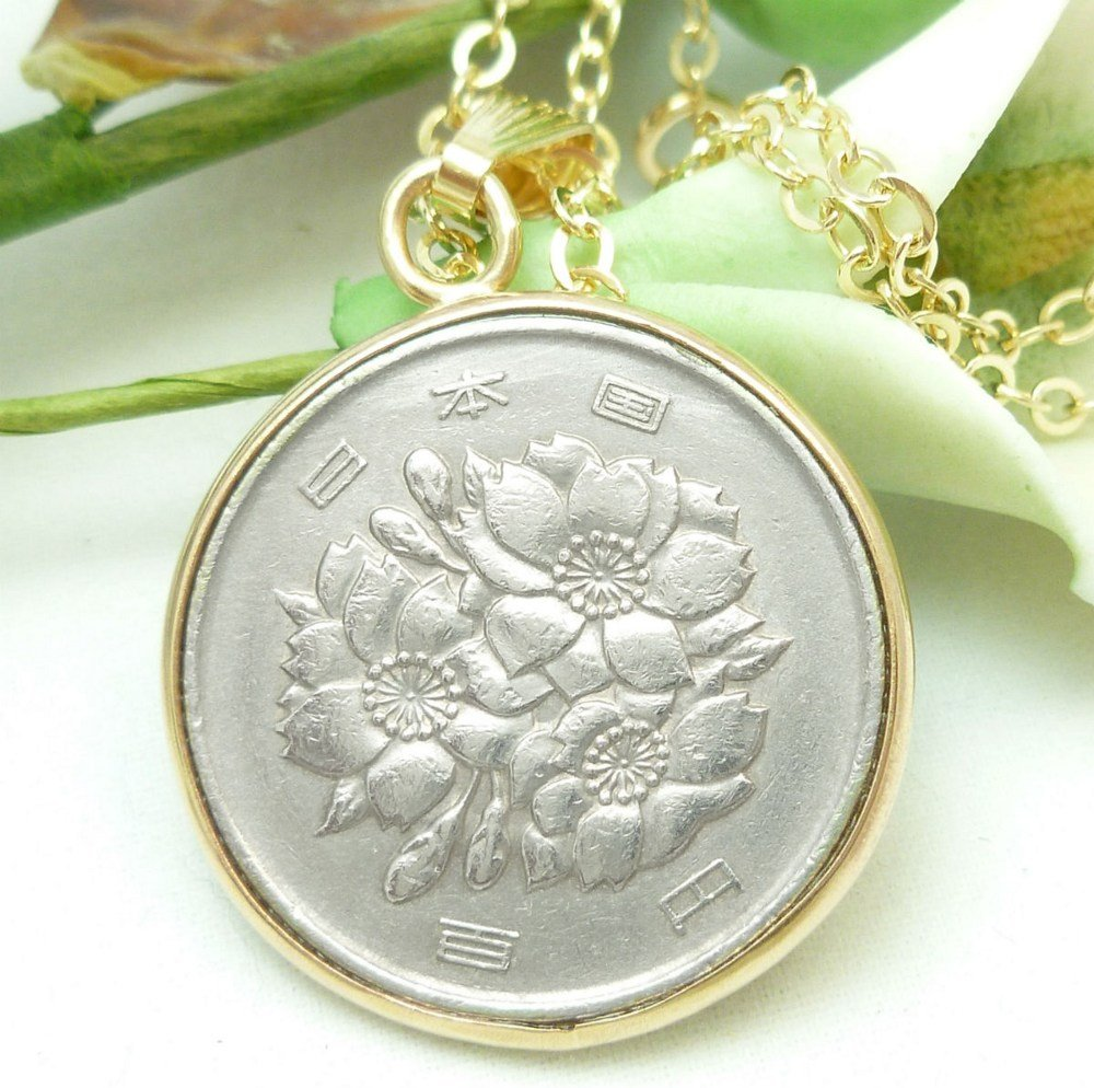 Japanese 100 Yen Coin Pendant 14kt Gold Filled Necklace Chain Coin jewelry