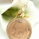 Australian 1 Cent Coin Pendant Gold Filled Feather Tailed Glider Coin jewelry