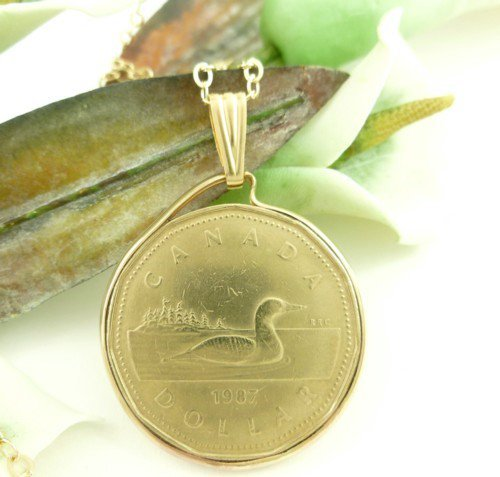 Canadian Loonie One Dollar 1987 Coin Pendant 14kt Gold Filled Bezel  Coin jewelry