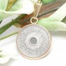 5 Sen Japanese 1920 Vintage Coin Pendant Necklace Gold Filled
