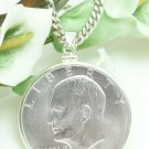 "1971-S ""Ike"" Eisenhower Dollar Silver Clad Coin Pendant Sterling Coin jewelry"