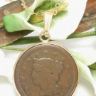 1847 Large Cent Penny Braided Hair Coin Pendant Gold Filled Necklace Jewelry