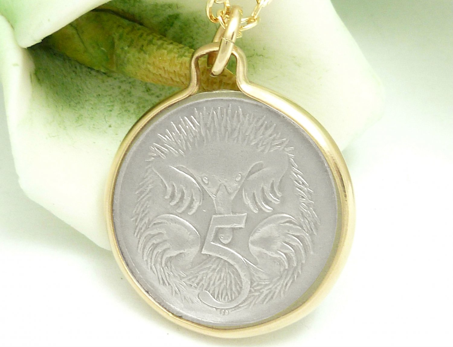 Australian 5 Cent Coin Pendant Spiny Anteater Gold Filled Necklace Coin jewelry