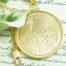 JFK Presidential Lady Liberty Coin Pendant in 14kt Gold Filled Coin jewelry