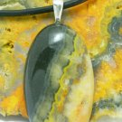 Bumble Bee Jasper Black Orange Gemstone Sterling Pendant Leather Cord Artisan Jewelry