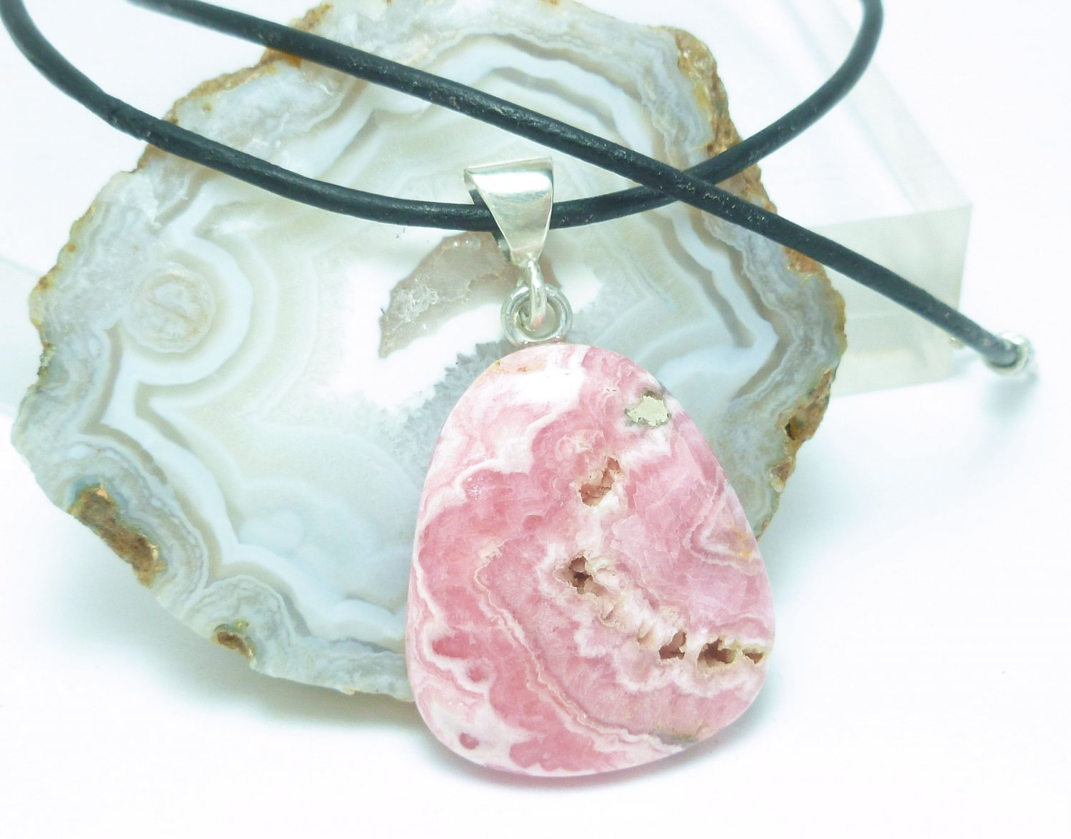 Pink Rhodocrosite Natural Gemstone Sterling Pendant Black Leather Cord Artisan Jewelry