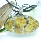 Russian Simbercite Pyrite Gemstone Cabochon Sterling Pendant Leather Cord Artisan Jewelry