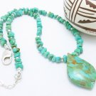 Kingman Southwest Turquoise Nugget Sterling Beaded Necklace Pendant Artisan Jewelry