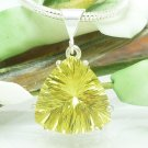 Lemon Quartz Quantum Trillion Sterling Pendant Necklace Artisan Jewelry