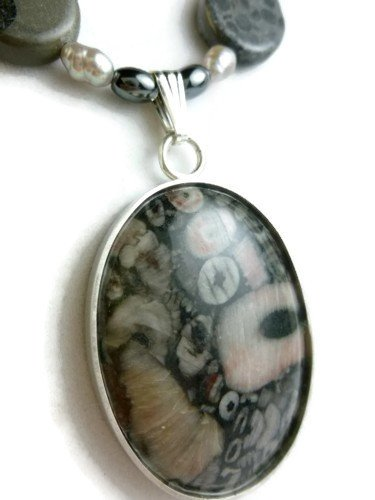 Crinoid Fossil Sterling Pendant Freshwater Pearl Necklace Artisan Jewelry