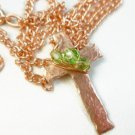 Hammered Copper Metal Cross Pendant Green Crystals 18 inch Necklace Artisan Jewelry