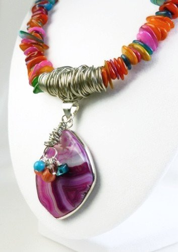 Fuchsia Brazilian Agate Pendant Mother of Pearl Rondelle Necklace Artisan Jewelry