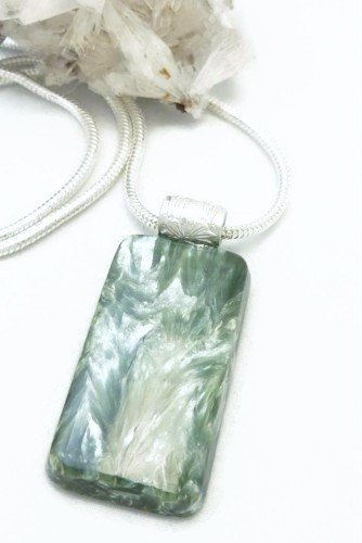 Natural Seraphinite Gemstone Sterling Silver Pendant Rectangle Green Artisan Jewelry