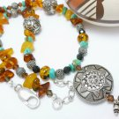 Turquoise Amber Nugget Gemstones Sterling Beaded Necklace Artisan Jewelry