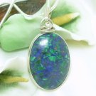 Malachite In Lapis Lazuli Gemstone Sterling Oval Pendant Necklace Artisan Jewelry