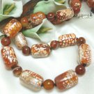 Burnt Orange Crackle Fire Agate Beaded Necklace 22 inch Artisan Jewelry