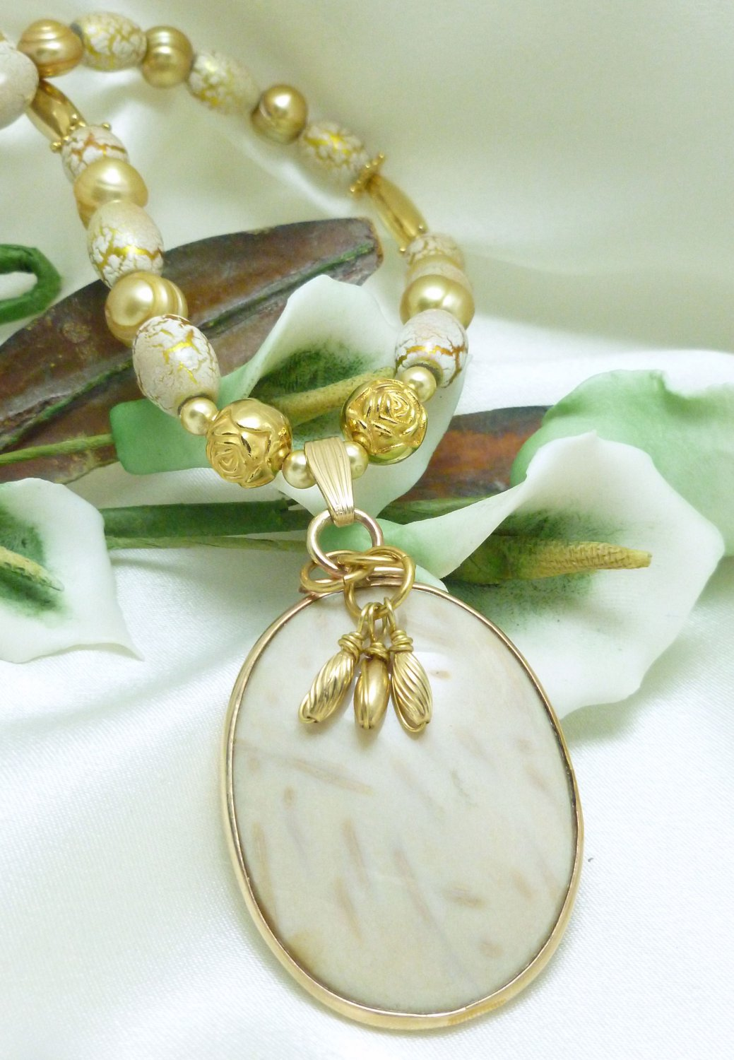 Petrified White Palm Wood Oval Pendant Gold Freshwater Pearl Necklace Artisan Jewelry