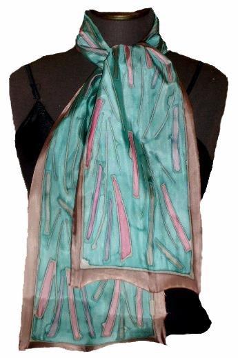 Soft Blue Hand Painted Silk Neckerchief