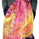 Wine Stripe Hand Painted Silk Neckerchief