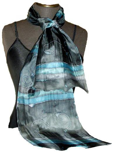 Ebony / Teal Hand Painted Silk Oblong Scarf