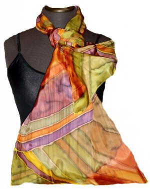 Olive Stripe Hand Painted Silk Oblong Scarf