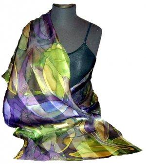 Mauve Leaf Hand Painted Silk Shawl