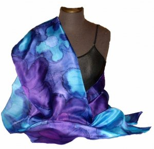 Violet Blue Hand Painted Silk Wrap